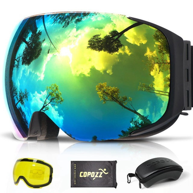 94e0e5b7b ... COPOZZ Magnetic Ski Goggles with 2s Quick-change Lens and Case Set  UV400 Protection Anti