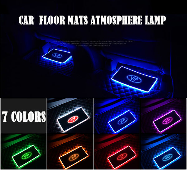 7 Color Car Interior Floor Mats Atmosphere lamp Automotive LED Decorative Sound control Colorful flashing Light With Remote