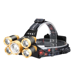 Most Powerful LED Headlight headlamp 5LED T6 Head Lamp Power Flashlight Torch head light