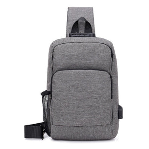 Multifunctional Rechargeable Men's Chest Bag Outdoor Sports Shoulder Bag - Gray