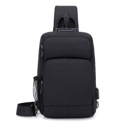 Multifunctional Rechargeable Men's Chest Bag Outdoor Sports Shoulder Bag - Black