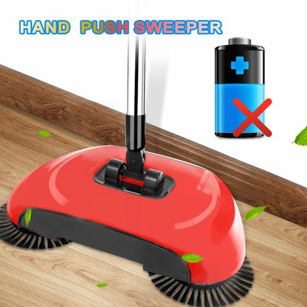 Hand Push Sweeper Clean 2 in 1 Home Without Electricity Lazy Sweeper Stainless Steel Broom