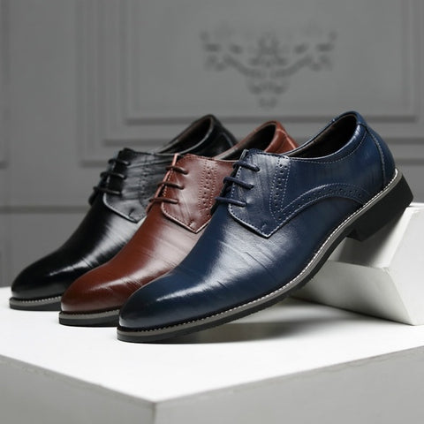 Fashion Wedding Leather Business Casual Lace Up Shoes Men Leather Pointed Toe Shoes