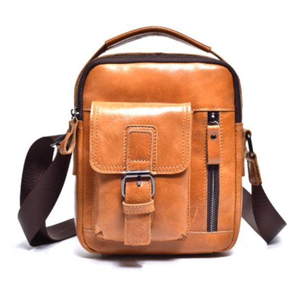 Men Classic Leather Handbag Casual Business Small Crossbody Bag Shoulder Bag