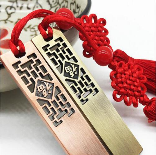 (Hot gift) Metal hollow blessing USB flash drive Chinese style U disk Chinese style luxury gift