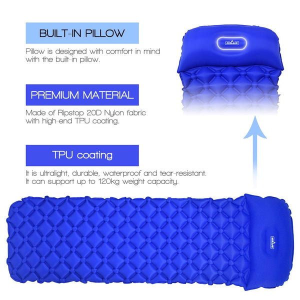 Ultralight TPU Sleeping Pad Waterproof  Inflatable Air Mattress Cushion Camping Outdoor Hiking