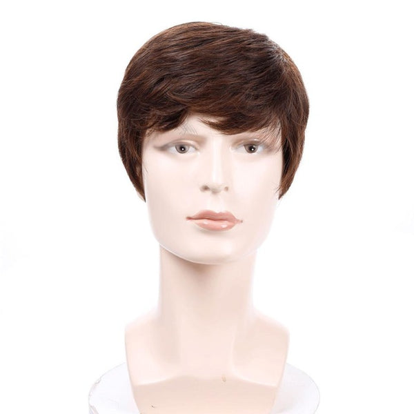 Synthetic Short Straight Wigs for Men Natural Hair Pieces Men's Wigs Heat Resistant Fake Hair Wigs
