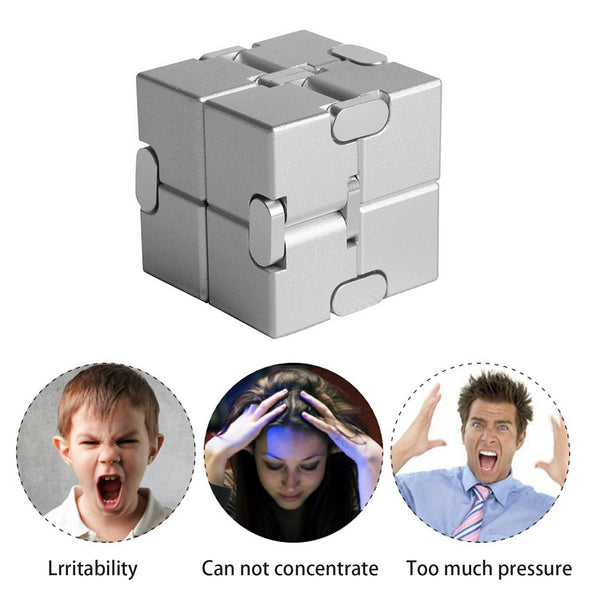 Aluminum Mini Infinite Cube Finger Toy Magic Cube Office Flip Cubic Puzzle Reliever Toy for Children with Autism Syndrome