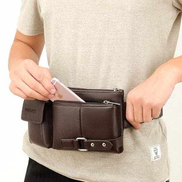 Men's Vintage Leather Waist Bag Multi-Function Chest Bag Casual Messenger Bag