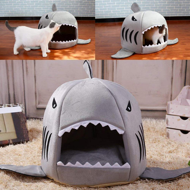 Rhinocats Bed for Cat Small Dog House Warm Soft Shark Cats Nest Mat Sleeping Bag Kedi Evi Cotton Doggy Sofa for Pet Puppy Kitten