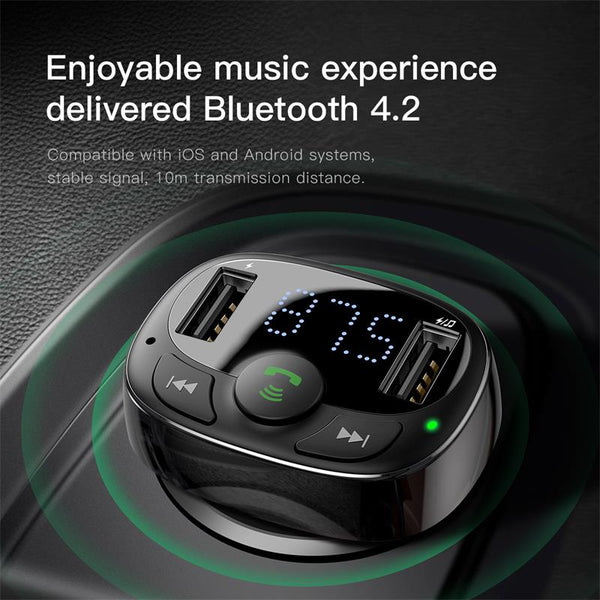 Car Charger for iPhone Mobile Phone Handsfree FM Transmitter Bluetooth Car Kit LCD MP3 Player Dual USB Car Phone Charger