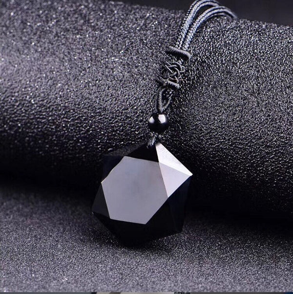 Natural Stone Black Obsidian Carved Lucky Amulet Pendant Necklace 【buy one get one free】