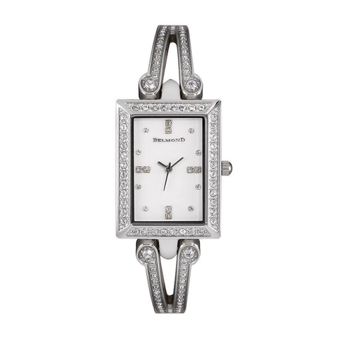 Rectangle Diamond Accented Dial Women Wristwatch