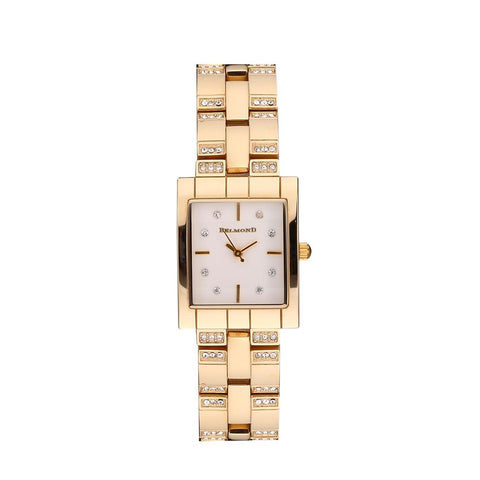Rectangle Diamond Accented Analog Women Wristwatch