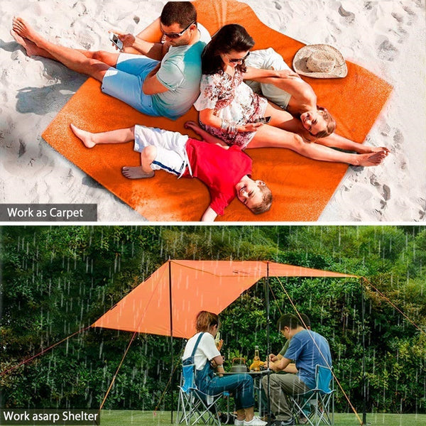 Camping Nylon Rain Sunshade Tent 3 In 1 Multifunctional Raincoat Mini Tarp