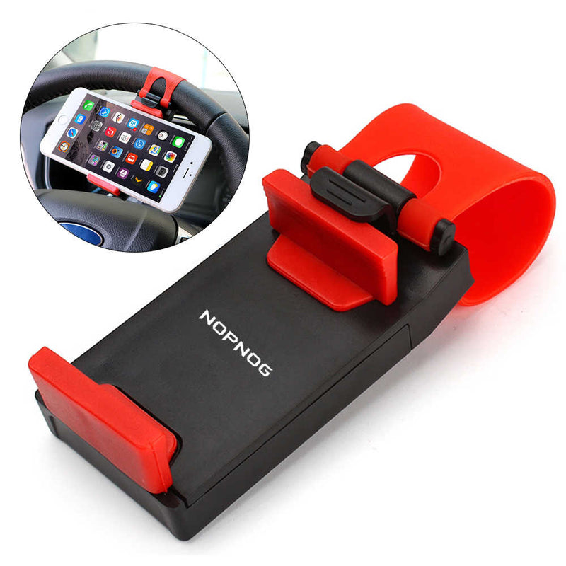 FORAUTO Car Phone Holder Mounted on Steering Wheel Cradle Smart Mobile Phone Clip Mount Holder Rubber Band For Samsung iPhone