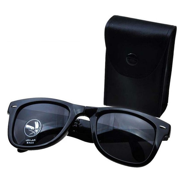 Folding Sunglasses with Case Box Sport Sunglasses Mirror Retro Outdoor