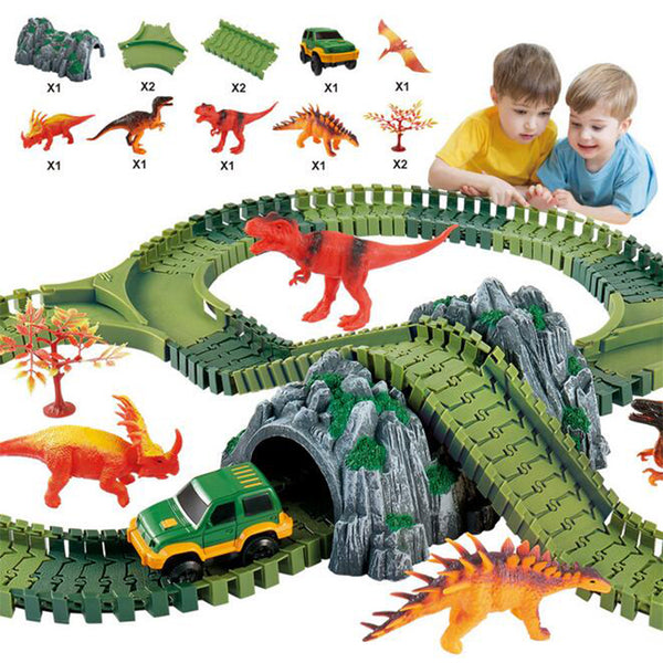 Children's electric Dinosaur Track Assembling Toys Cars Puzzle 100PCS