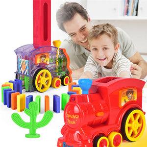 Domino Game Electric Train Kids Toy Automatic Car Vehicle Model Toy Kids Learning Educational Toy Domino Blocks Kit