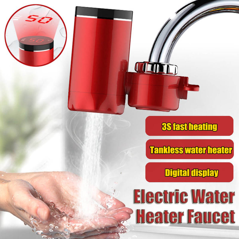 Electric Hot Faucet Water Heater Electric Tankless Water Heating Kitchen Faucet Digital Display Instant Water Tap 3000W