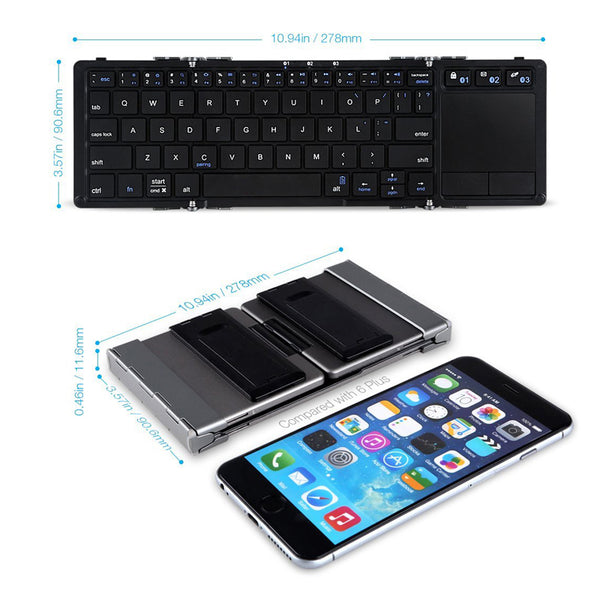 Foldable Touch Keyboard For iPhone Aluminum Bluetooth Folding Keyboard With Stand For Samsung Touchpad Stand Keyboard For Mobile
