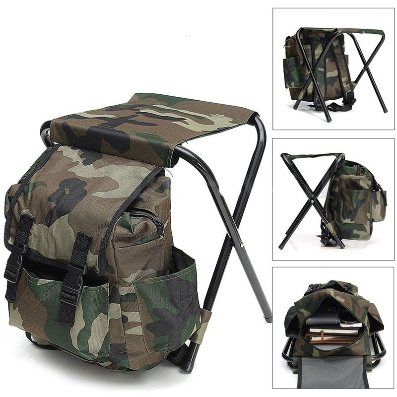 Folding Camping Chair Stool Backpack Multi-Function Hiking Camouflage Seat Table Bag