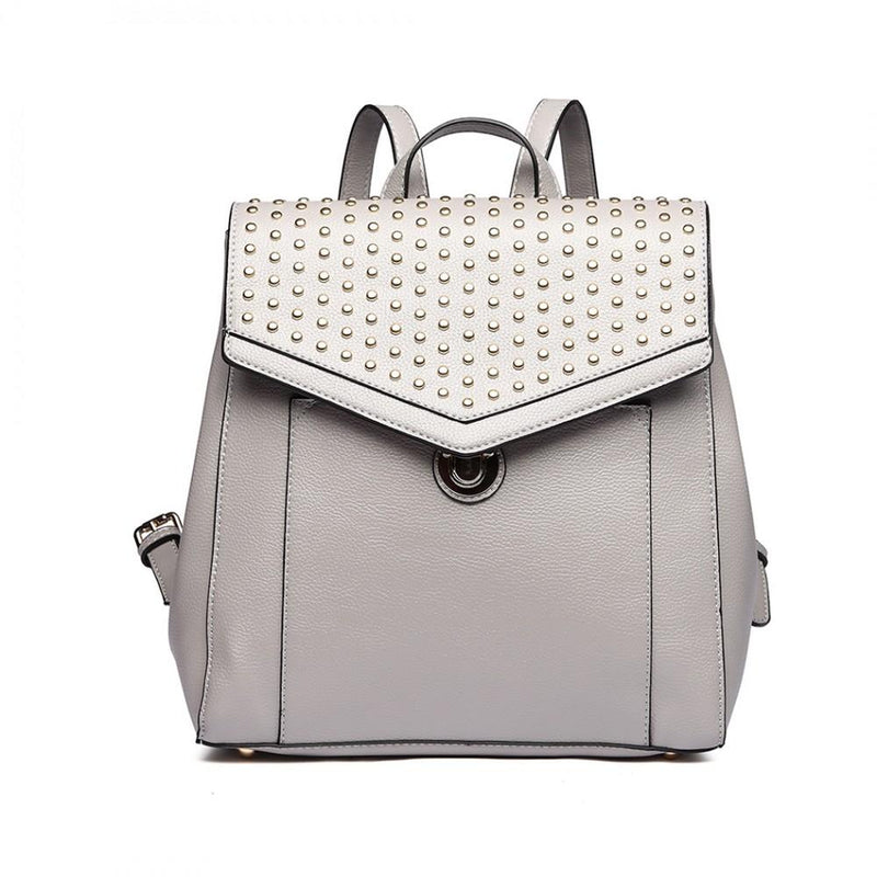 Miss Lulu - Rivet Zipper Backpack AA0007