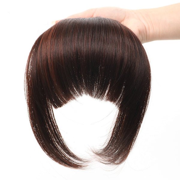 Gres Natural Straight Blunt Bangs Women Clip in Synthetic Hair Extensions Black/Brown Female Fringe Fake High Temperature Fiber