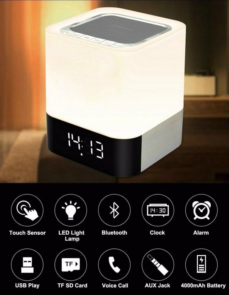 Multi-Function  Mini Touch LED Bluetooth Wireless Speaker HIFI 3D Stereo Bass Sound Box Alarm Clock Calendar