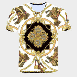 Novelty 3D Golden Chain Printed Baroque Brand T-shirt 2019 Summer Style Short Sleeve Luxury Royal Men Clothing Hip Hop High Tees