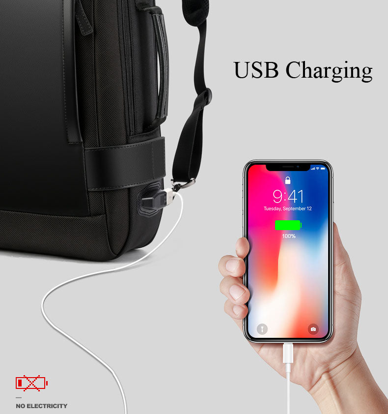 USB External Charge 15.6 Inch Laptop Backpack Shoulders Men Anti-theft Waterproof Travel Backpack