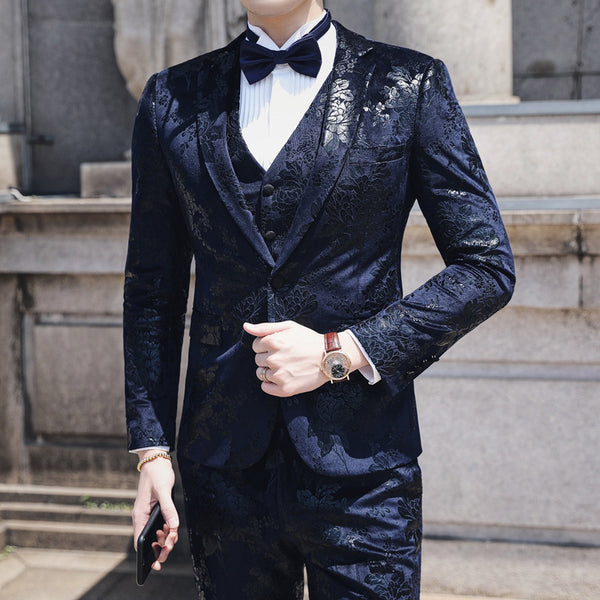 (Blazer+vest+pants) 3psc Classic Men Formal Business Suit Slim Wedding Wear Gentlemen Costume M-6XL