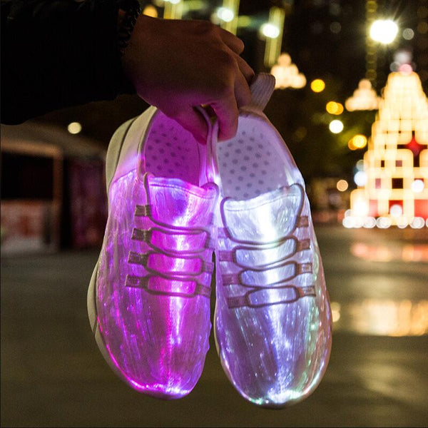 New Summer Led Fiber Optic Shoes For Girls Boys Men Women USB Recharge Glowing Sneakers  Light Up Shoes