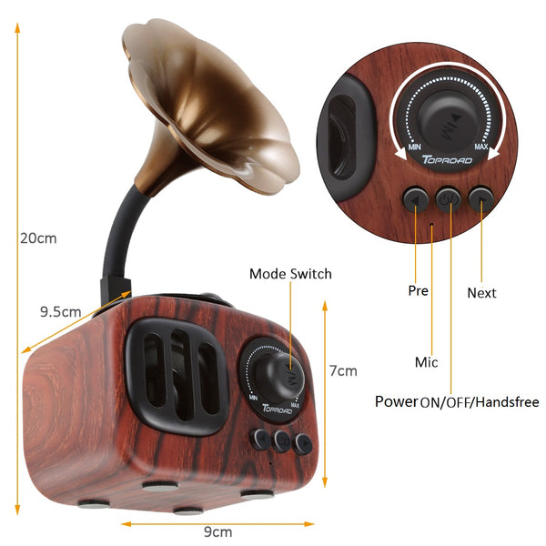 Retro Gramophone Subwoofer Bluetooth Speaker Wireless FM Radio 3D Surround Sound Music Center System Wooden Speakers with Mic