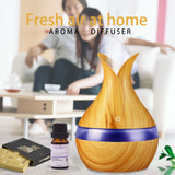 300ml USB Air humidifier aroma oil Diffuser strong mist maker wood grain with 7 colors LED night light for home office