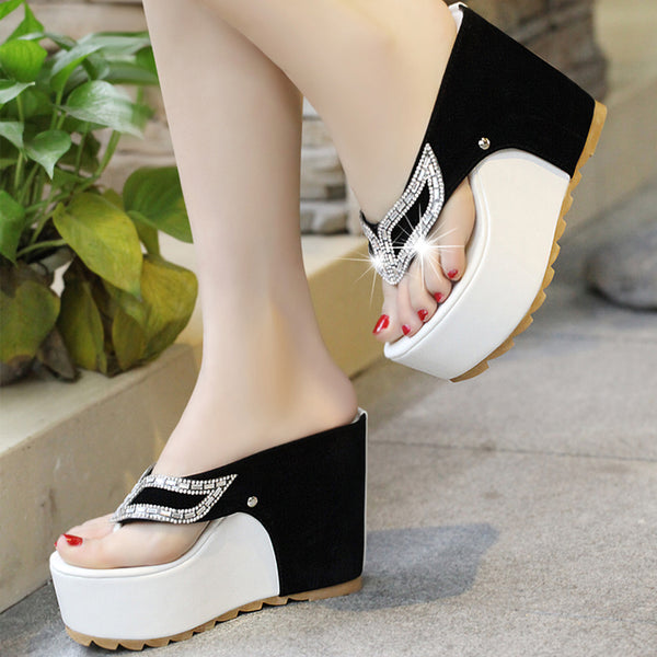 Women's  Shoes Woman Rhinestone Flip Flops Spuer High heels Wedges Platform Fashion Beach Sandals