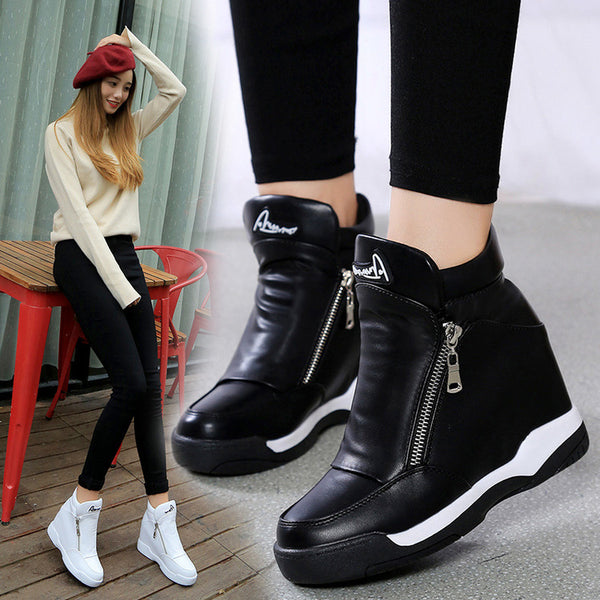 Winter Wedge Patchwork Fashion Women Ankle Boots Height Increasing Shoes Platform Warm Snow Femme Ladies Sneakers