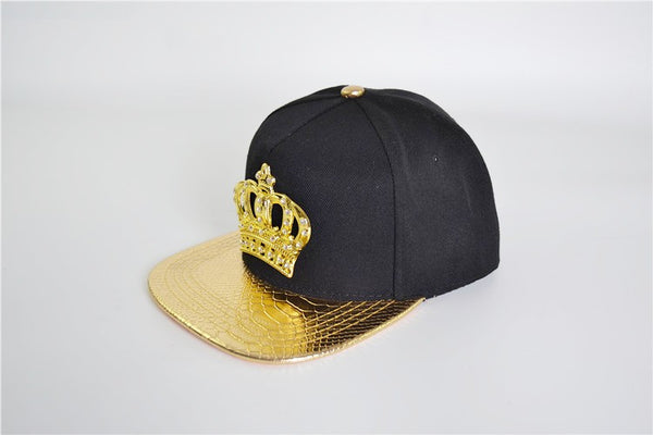 (Buy 1 Get 1  FREE) PU Leather Crocodile Mesuda Hip-hop Cap lion head Crown Snapback Hats Gold Rhinestone hip hop hat men women gift