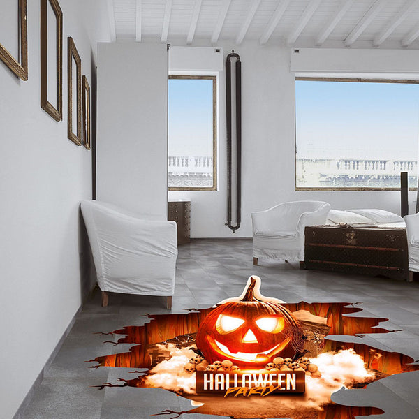Halloween 3D Stickers View Scary Pumpkin Shaped Window Floor Stickers Halloween Decoration Poster PVC Removable Sticker for Kids