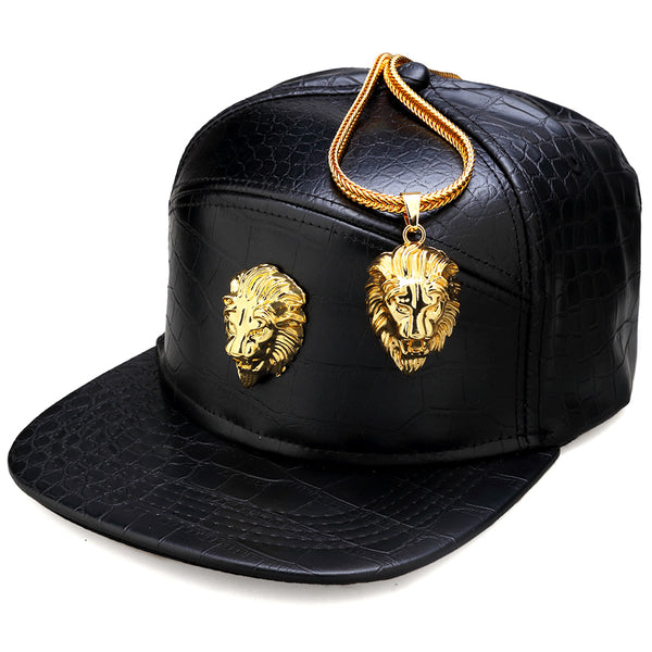 Metal Gold Lion Head Logo(Buy 1 Get 1 FREE) PU Leather Baseball Cap Casual Unisex Belt Buckle Hip Hop Rap 5 Panel Sun Snapback Hats Men Women