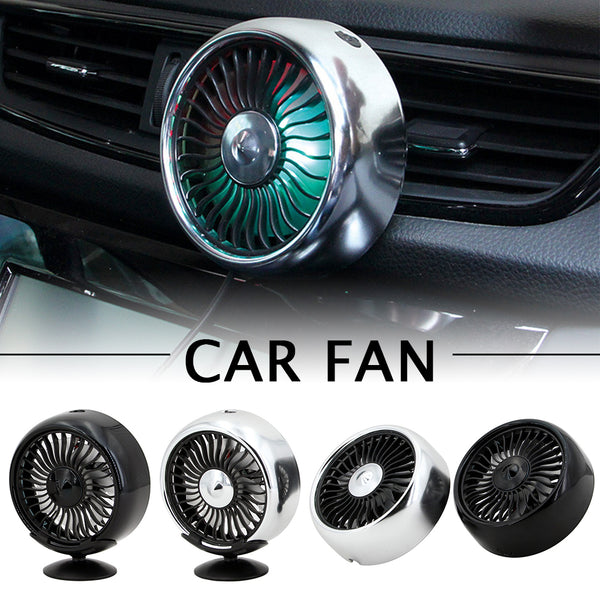 3 Speed Settings USB Fan Air Conditioning Car Colorful Light Panel Cooling Fan Air Outlet / Base Model Optional