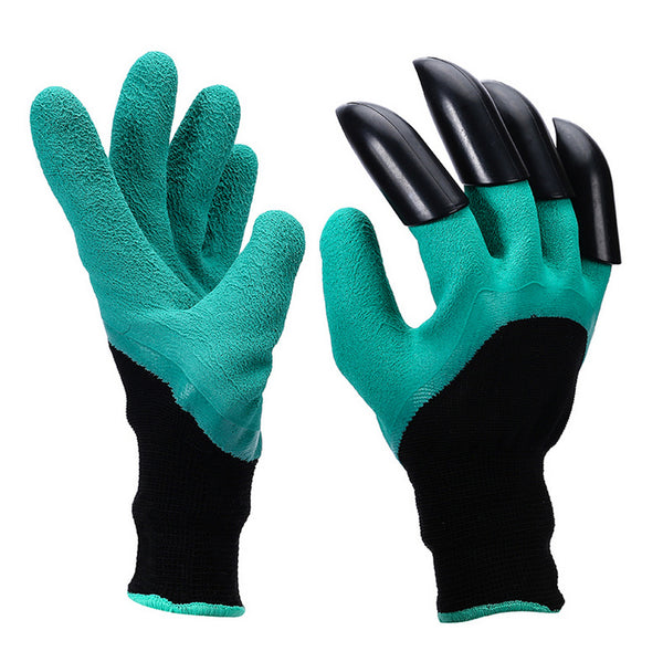 1 Pair Garden Gloves 4 ABS Plastic Garden Genie Rubber Gloves With Claws Quick Easy to Dig and Plant For Digging Planting
