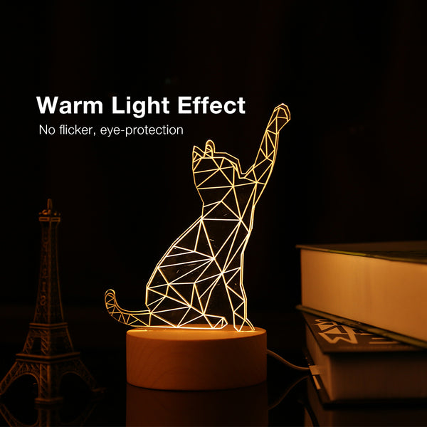3D Cat LED Night Light USB Charging Speaker