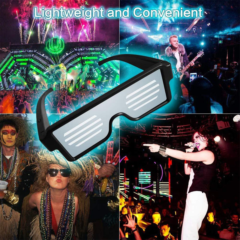 Magic Bluetooth Led Party Glasses APP Control Shield Luminous Glasses USB Charge DIY App Control Multi-lingual Quick Flash Led