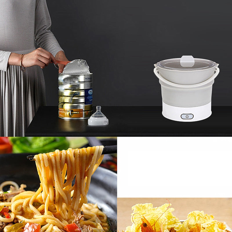 【Give A Global Converter】Folding Electric Skillet Kettle Heated Food Container Heated Lunch Box Cooker Portable Hot Pot