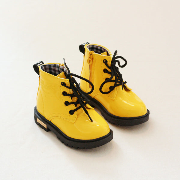 NEW 2019 Boys Girls Leather Boots Shoes Spring Autumn PU Leather Children Boots Fashion Toddler Kids Boots Warm Winter Boots