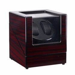 Auto Wooden Watch Winder Lacquer Piano Glossy Black Carbon Fiber Double Watch Winder Box Quiet Motor Watch Storage Display Case