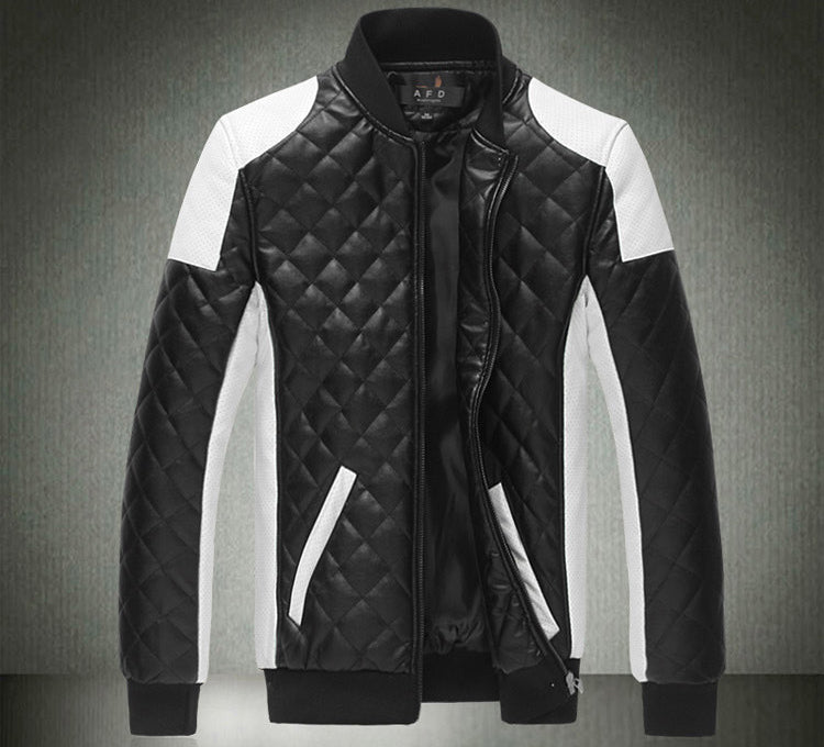 Design Men Jackets Winter&Autumn Soft Shell PU Leather Black&White Mens Jackets And Coats 5XL Plus Size
