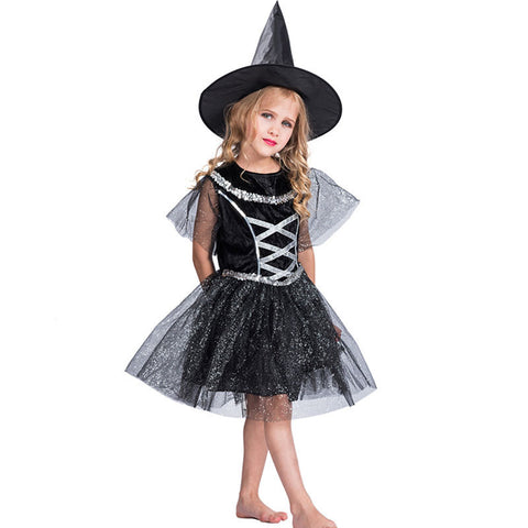 Halloween Carnival Children Kids Witch Cospaly Costumes Party Vampire Black Dress With Hat For Girl Fantasia Anime Role Play