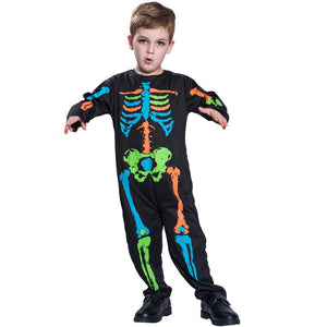 Halloween Skeleton Cosplay Costume Kid Adult Jumpsuit Fancy Children Corolful Party Costume Masquerade Performance Scary